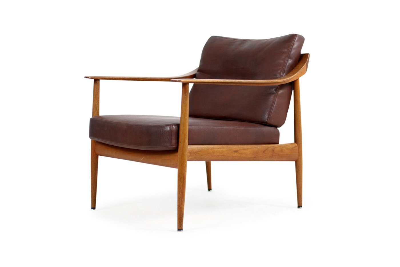 1960s easy chair teak leather knoll antimott mid century for Lounge chair kopie