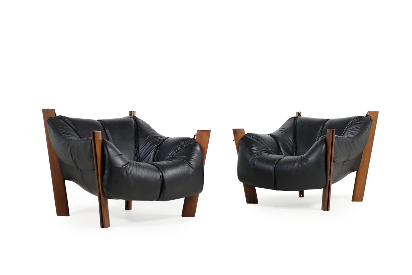 Pair Of 1970s Brazilian Percival Lafer Leather Lounge Chairs