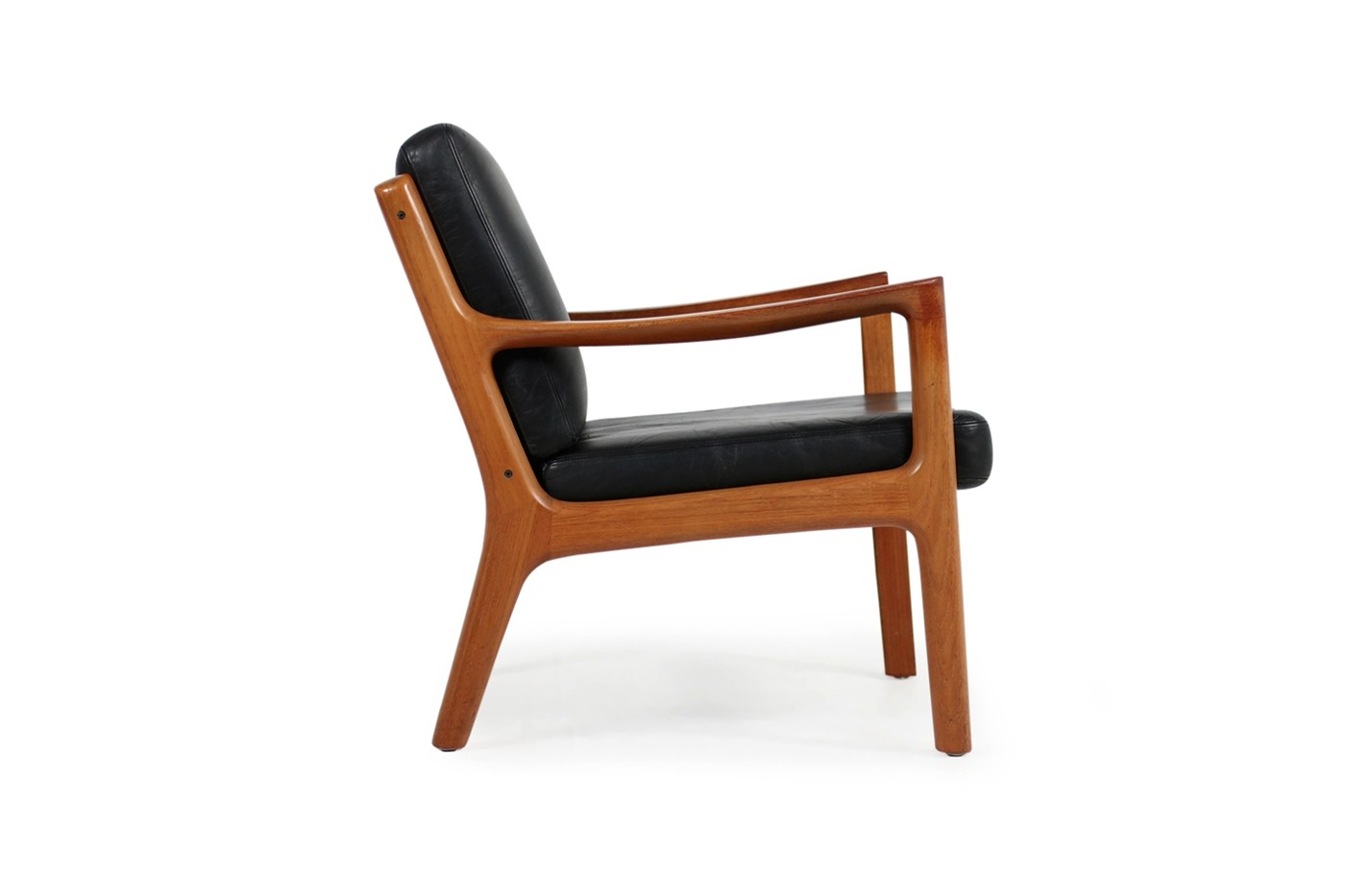 1960s Danish Modern Ole Wanscher Easy Chair Teak Black Leather No 1