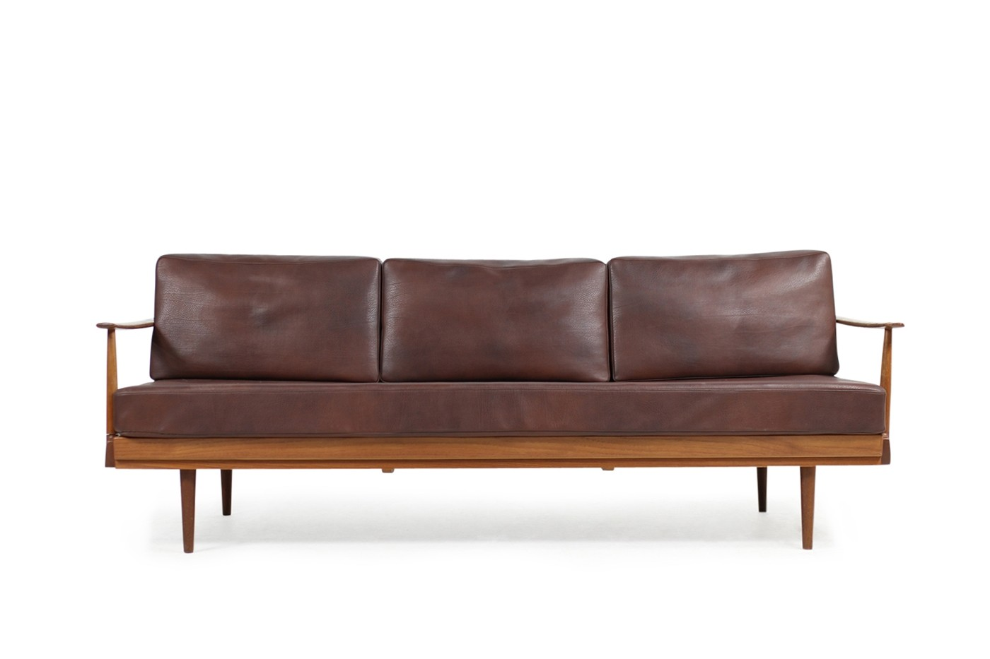 sold rare 1960s knoll antimott daybed teak leather sofa. Black Bedroom Furniture Sets. Home Design Ideas