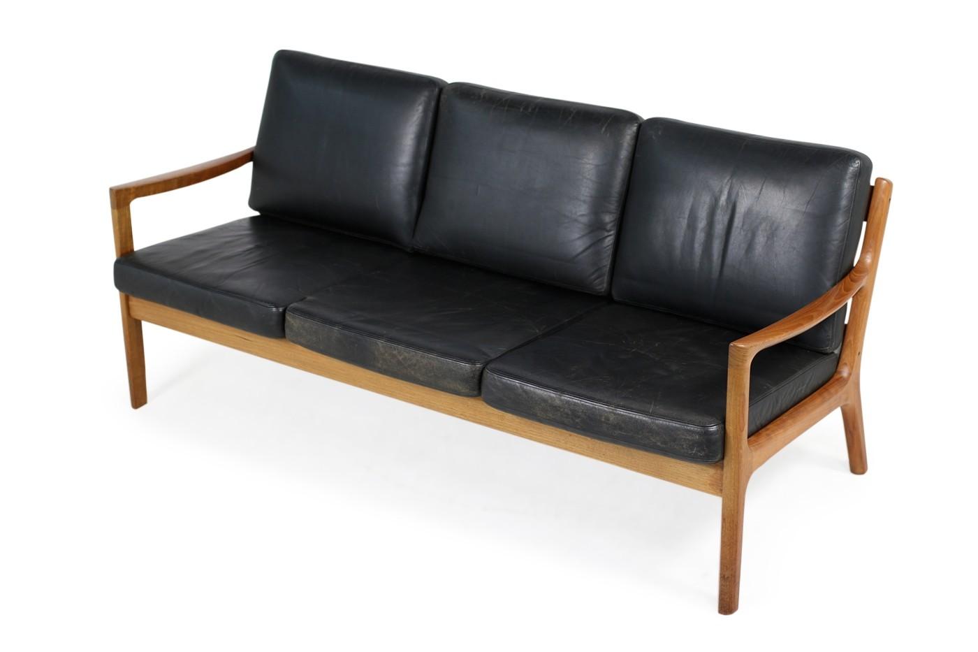 1960s Danish Modern Vintage Sofa by Ole Wanscher in Teak & Black Leather