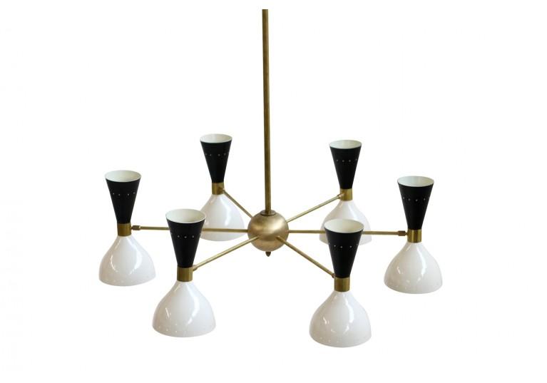Lampe, Kronleuhter, Stilnovo, Arredoluce Style, Messing, 60er Jahre Look