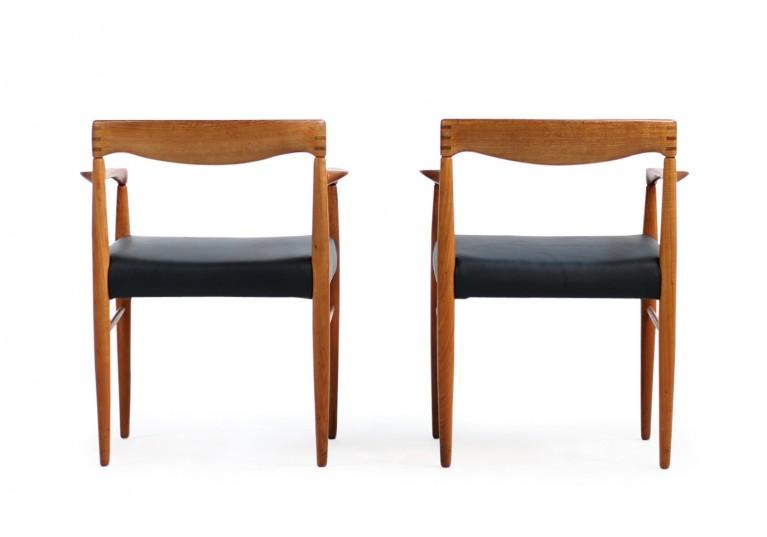 60er Stühle, H.W. Klein für Bramin Teak & Leder, armchairs