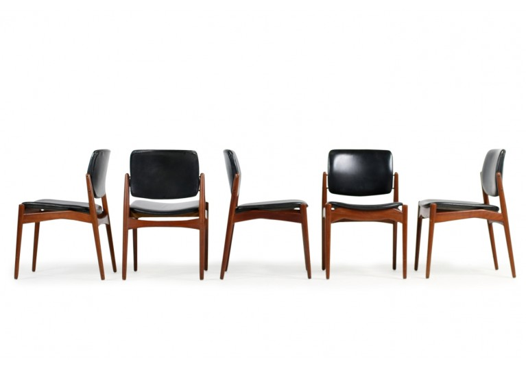 Set of 5 Erik Buck Teak & Leather Chairs Mod. 66 Ørum Møbler 1960s