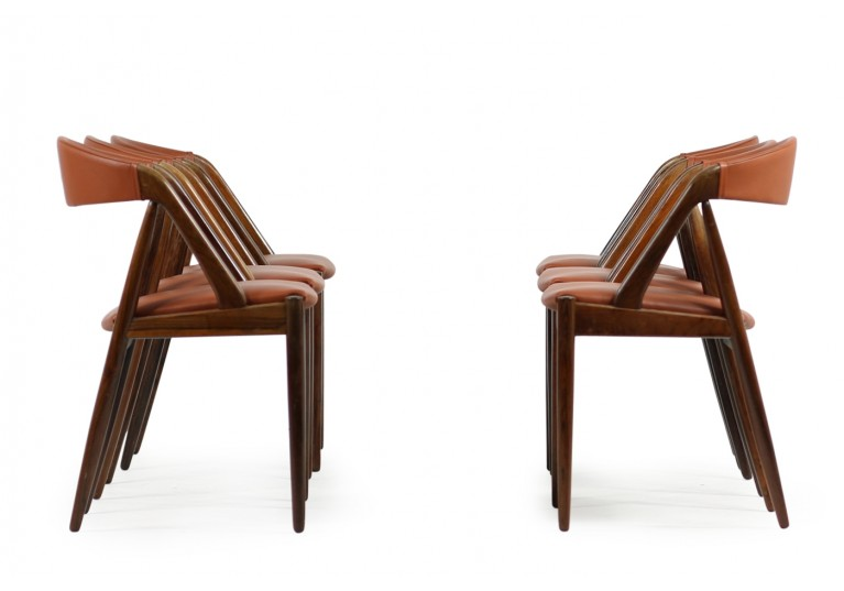 Set of 6 Kai Kristiansen Model 31 Rosewood & Leather Dining Chairs