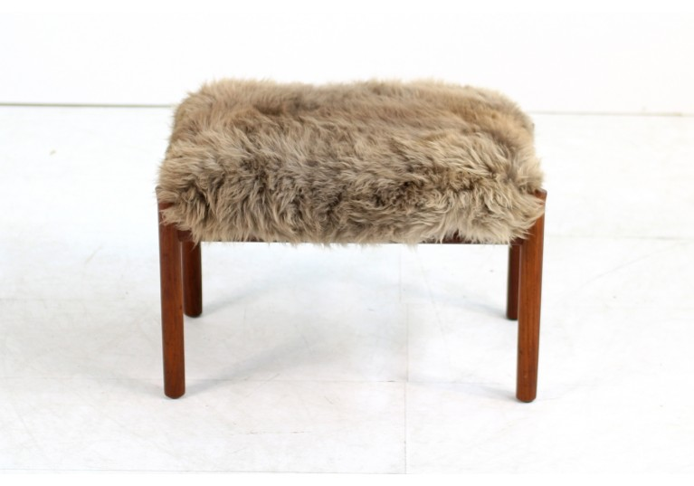 Beautiful 1960s Danish Teak Stool with Sheepskin Upholstery