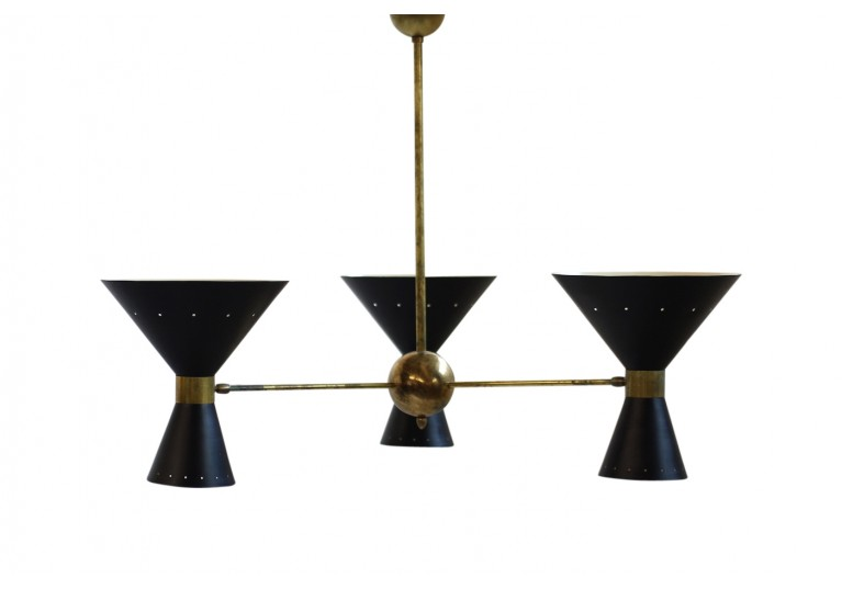 Metal & Messing Lampe, Kronleuchter, Stilnovo Style, Chandelier, 60er, 1960s