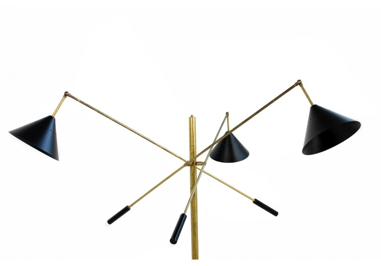 Stehlampe Metal & Messing, Marmor Sockel, Stilnovo Style, Triennale, 60er Style