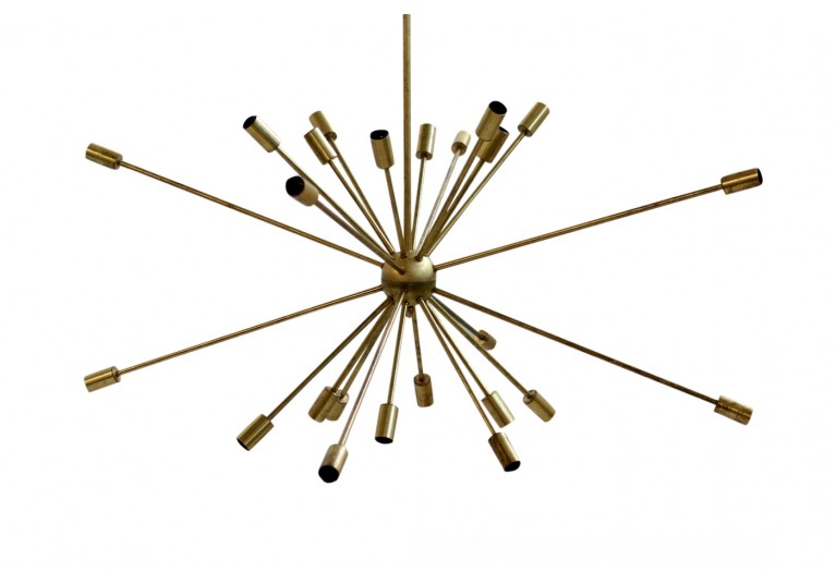 Messing Lampe, Kronleuchter, Italien, In the manner of Stilnovo, Sputnik Chandeloer, 60er, 50er