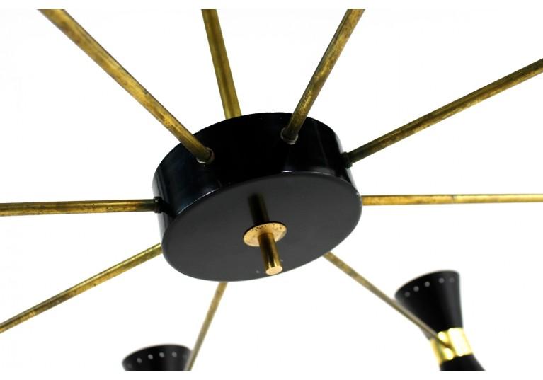 60er Lampe, 70er Kronleuchter, Italien, Stilnovo, Arredoluce, chandelier, metal, brass, Messing