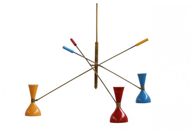 60er Lampe, 50er Kronleuchter, Metall, Italien, Stilnovo, Arredoluce, brass italian chandelier, lamp, stilnovo style