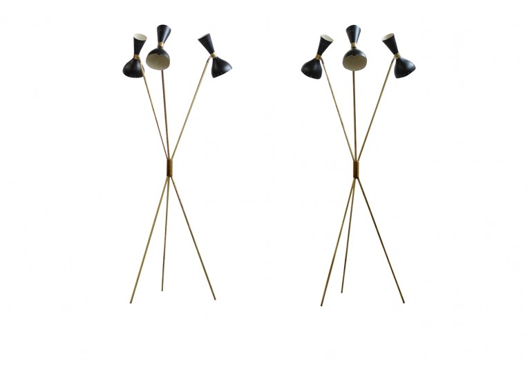 Tripod Lampe, Bodenlampe, Messing & Metall, Stilnovo Style, brass tripod floor lamp, 60er