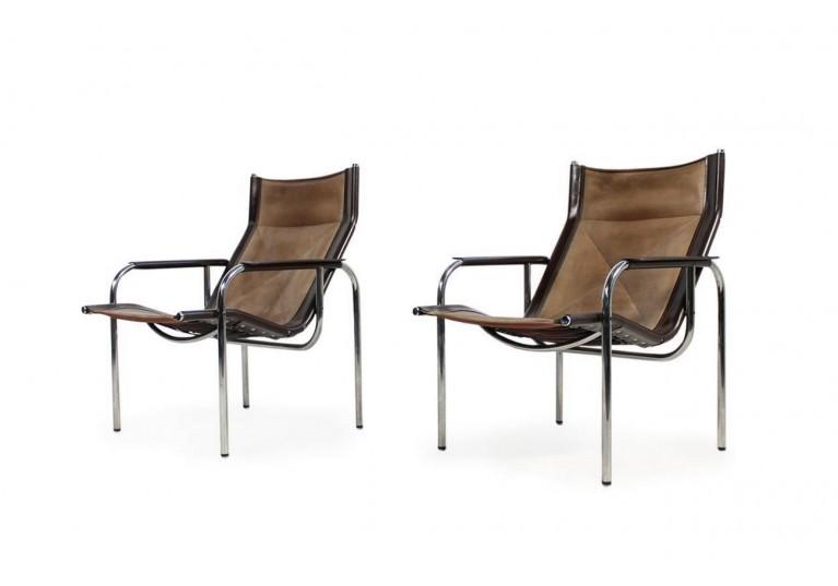 70er Sessel, Leder & Chrom, Hans Eichenberger für Straessle