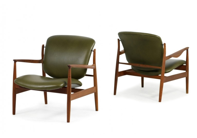 60er Teak Sessel, Finn Juhl 136 Easy Chairs, France & Son, Denmark, Lounge Chairs