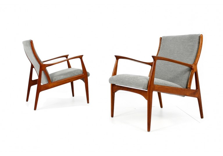 60er Teak Sessel, Danish Modern Easy Chairs, Horsnaes Denmark, Webstoff grau