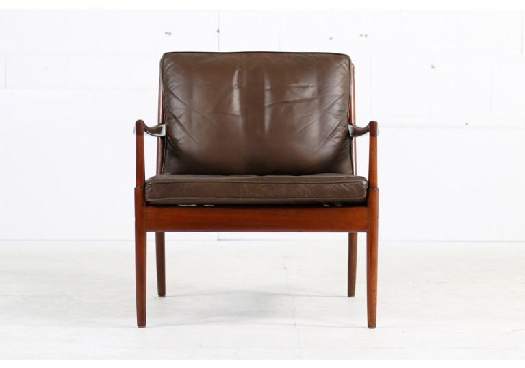 60er Sessel, Easy Chair, Ib Kofod Larsen, Leder, OPE Schweden