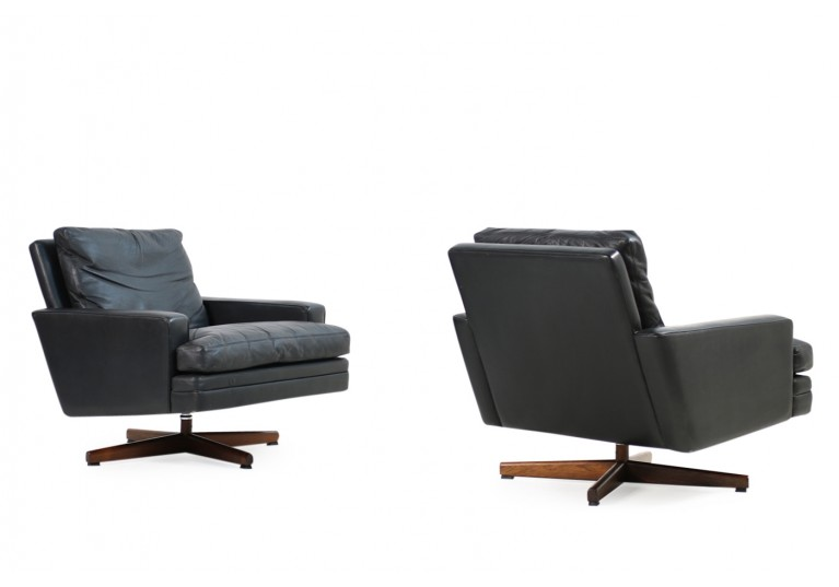 60er Sessel, Leder, Fredrik A. Kayser, Model 807 für Vatne Mobler