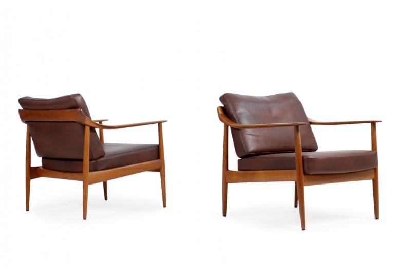 60er Teak Easy Chairs, Teak & Leder, Sessel, Knoll Antimott, Germany, 50er