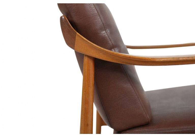 60er Teak Easy Chairs, Teak & Leder, Sessel, Knoll Antimott, Germany, 50er