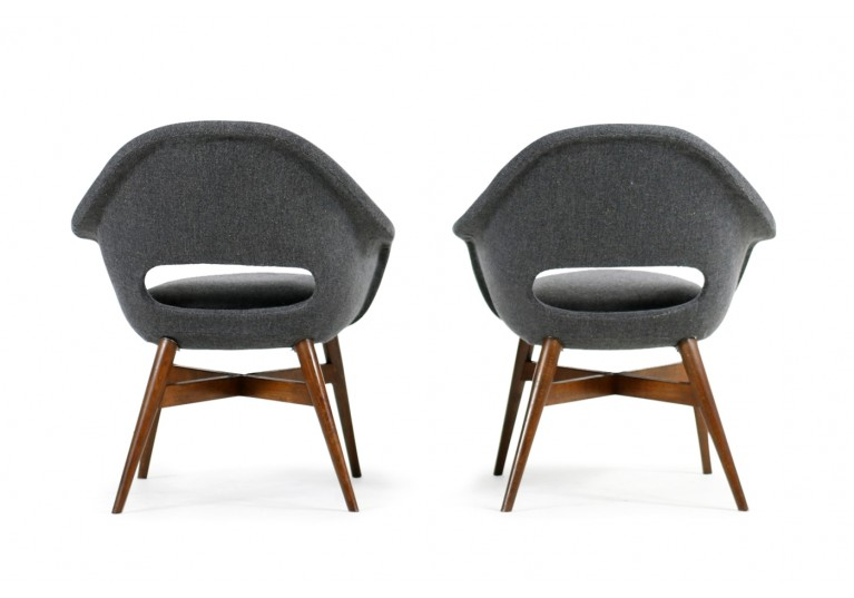 Beautiful Pair of 1960s Miroslav Navratil Chairs, New Upholstery