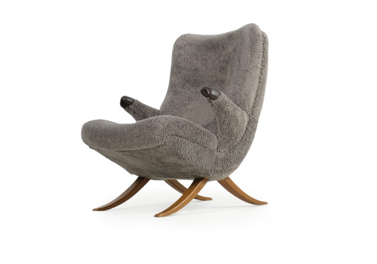 50er Sessel, organische Form, Papa Bear Lounge Chair, Sheepskin, 50er Sessel, Buchenholz