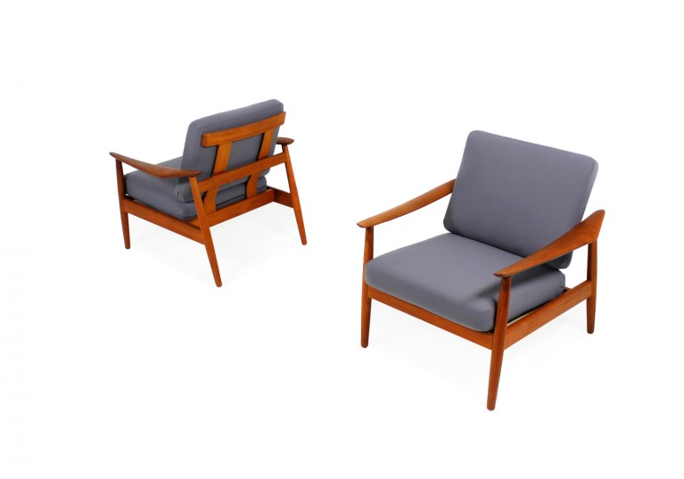 60er Teak Sessel, Arne Vodder, France & Son, danish modern easy chairs, Webstoff grau