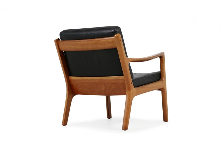 1960s Danish Modern Ole Wanscher Easy Chair Teak & Black Leather No. 3
