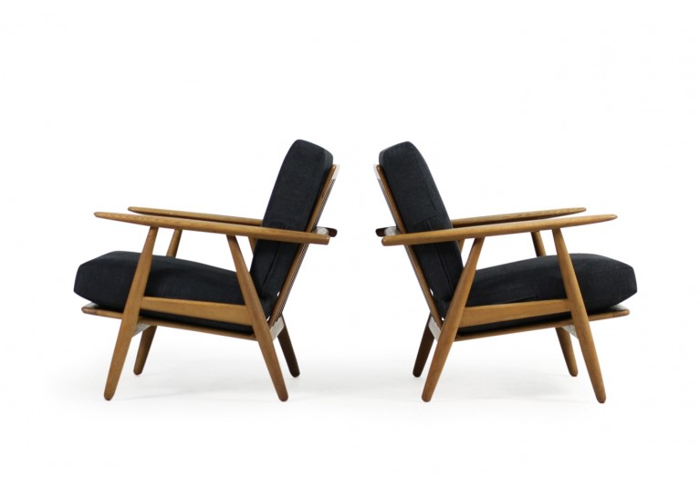 1950s Hans J. Wegner GE 240 Oak Cigar Easy Lounge Chairs & Ottoman