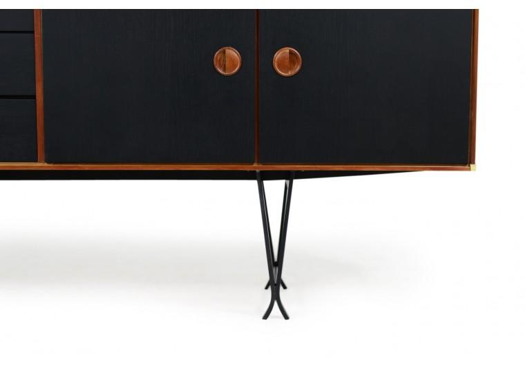 60er Teak Sideboard, Fristho, Metall & Messing, Mid Century Modern