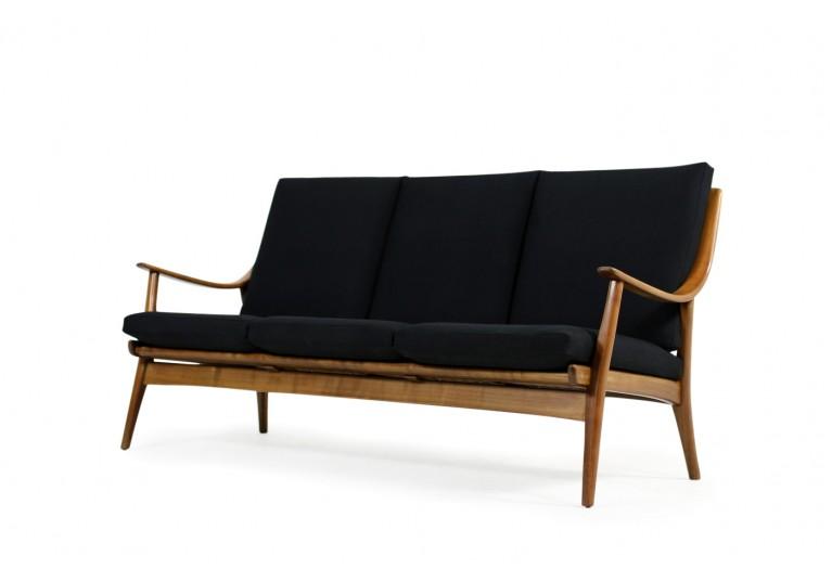 60er Buche Sofa, Boomerang, Couch, Webstoff schwarz