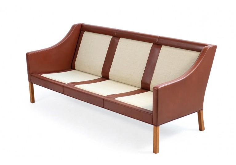 60er Ledersofa, Borge Mogensen, Model 2209, Fredericia Denmark, Sofa