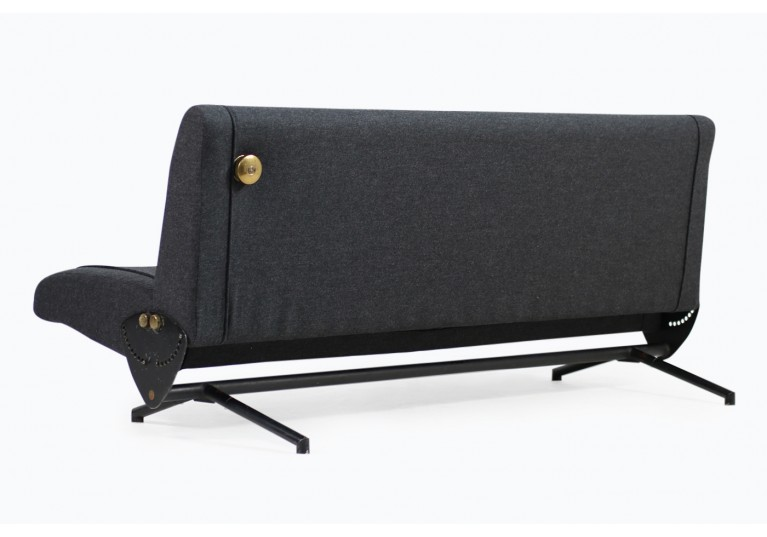 60er Osvaldo Borsani D70 Sofa, Messing, Tecno Italy, Bezug Wolle grau