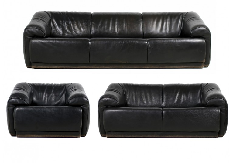 70er Lounge Leder Sofa, de sede style, buffalo leather