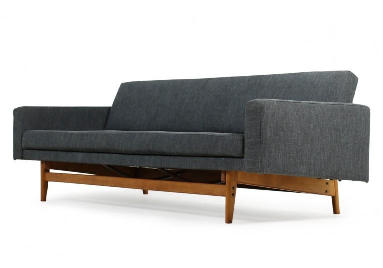 60er Daybed, Sofa, Karl Erik Ekselius, Neubezug Webstoff grau, scandinavian modern