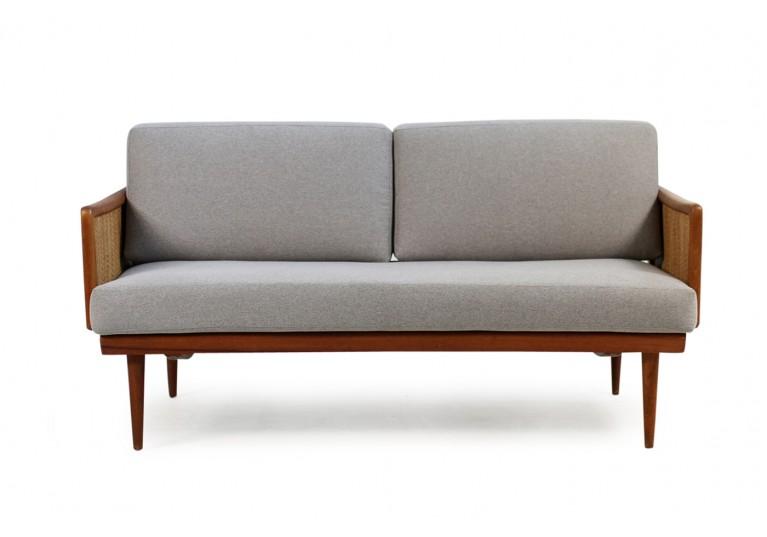 60er Teak Sofa, Daybed, Peter Hvidt, Model 451, France & Son Denmark, Geflecht, teak & cane daybed