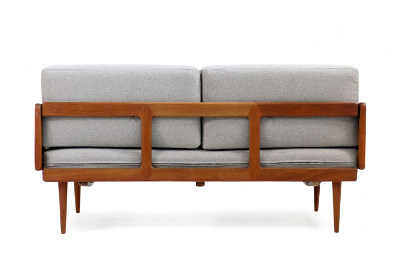 60er Teak Sofa, Daybed, Peter Hvidt, Model 451, France & Son Denmark, Geflecht, teak & cane daybed