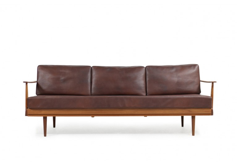 *SOLD* Rare 1960s Knoll Antimott Daybed, Teak & Leather Sofa