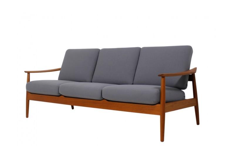 60er Teak Sofa, Arne Vodder, France & Son Denmark, danish modern, Webstoff grau