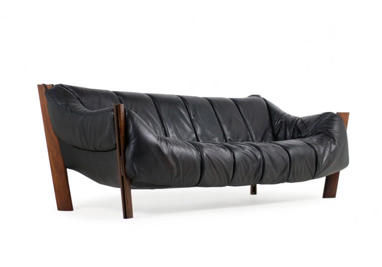 70er LEdersofa, Percival Lafer Lounge Sofa, Brasilien