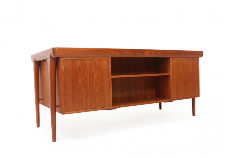 60er Teak Schreibtisch, Kofod Larsen, Denmark, 70er danish modern