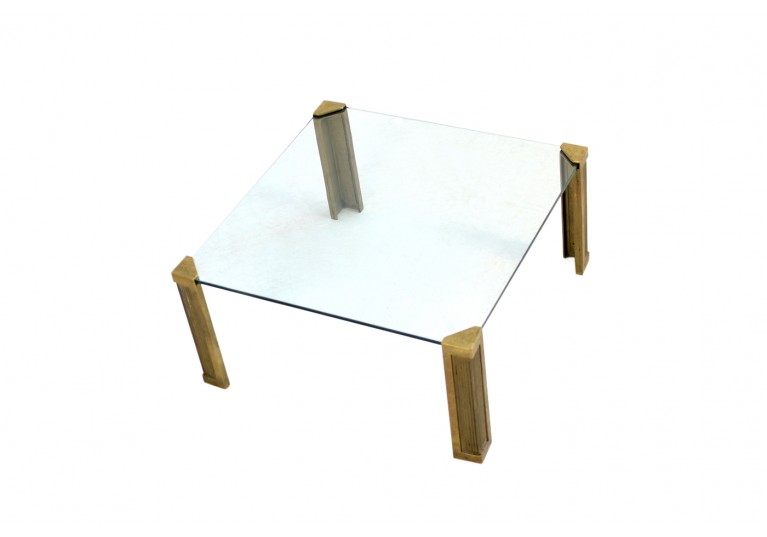 Vintage 1970s Peter Ghyczy Brass and Glass Coffee Table Mod. T14