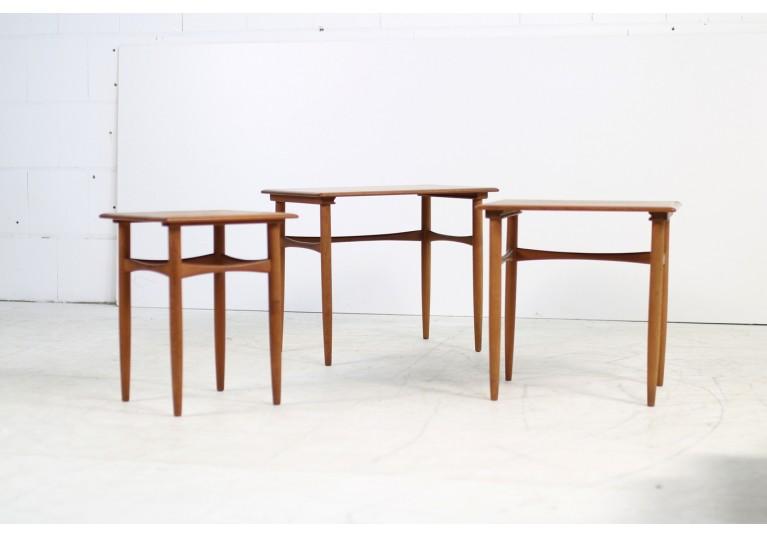 60er Teak Nesting Tables, Satztische, Arne Hovmand Olsen
