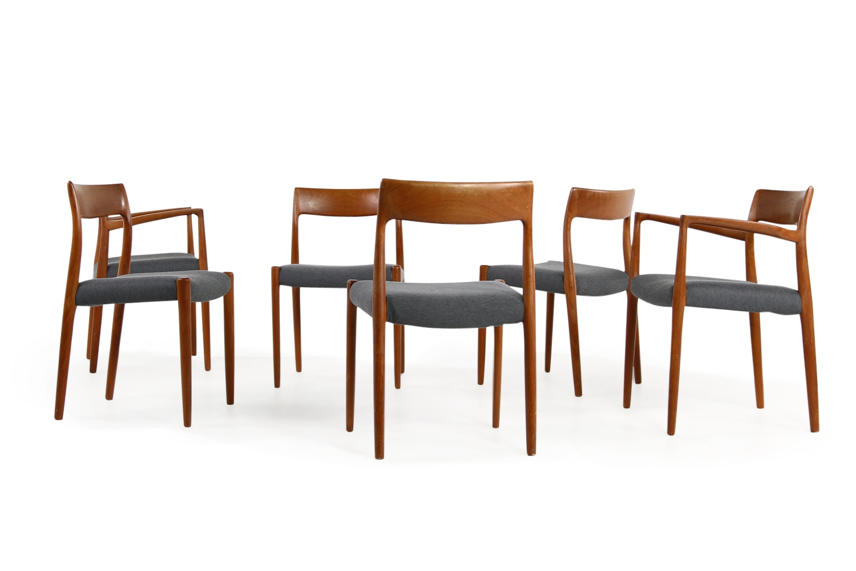 Niels Möller, Moller, Mod. 57, Mod 77, Teak Stühle, chairs
