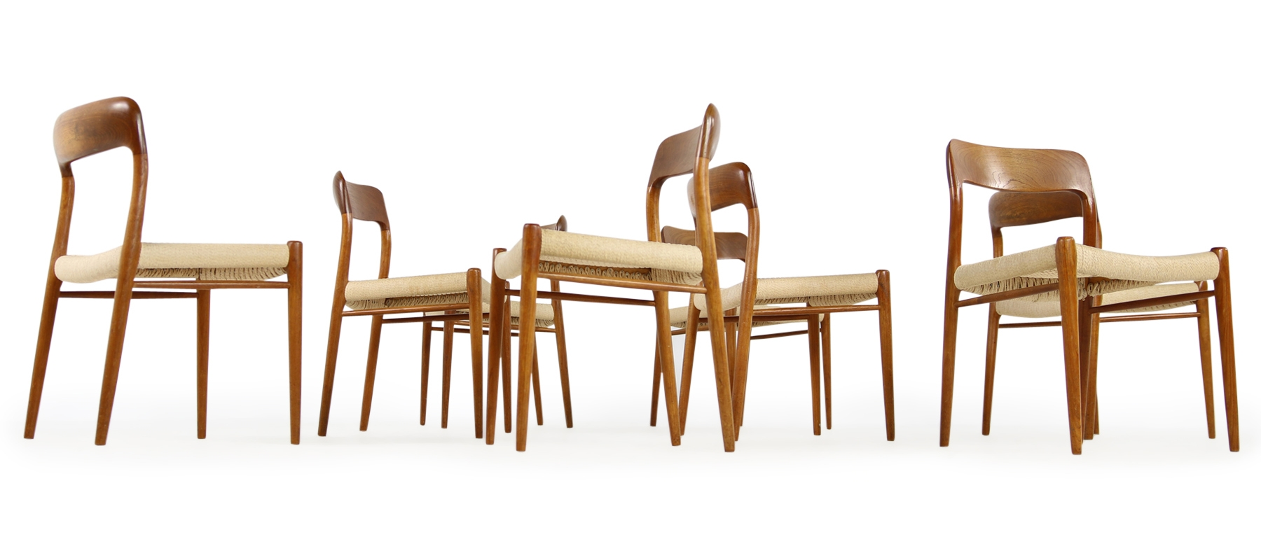 Set of 8 Niels Möller Teak & PApercord Dining Chairs Mod. 75